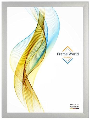 Frame World FW35 Bilderrahmen für 70 cm x 55 cm Bilder, Farbe: Silber, MDF-Holz Rahmen mit entspiegeltem Acrylglas und HDF Rückwand, Rahmen Breite: 35mm, Aussenmaß: 75,6 cm x 60,6 cm