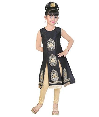 JBN Creation Girls Black Cotton Silk Salwar Suit (Size: 5-6 Years)