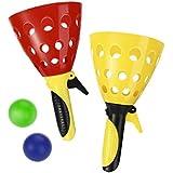 LIOOBO Kids Launch Catch Ball Game Set, Catcher Scoop Toss Toy for Children Outdoor Garden Backyard Play Activity - 4 Rackets 4 Balls (Random Color)