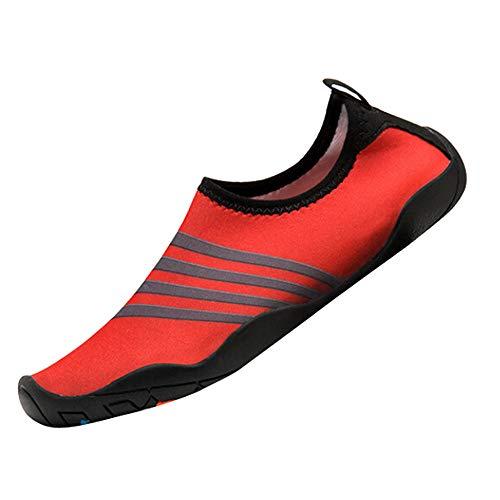 feiXIANG Herren Damen Fitnessschuhe Outdoor Sport Barfußschuhe Badeschuhe Wasserschuhe Aquaschuhe Strandschuhe (Rot,44) - Herren-stretch-walker