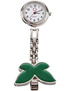Krankenschwesteruhr Armbanduhr - SODIAL(R) Geschenk Idee! gruen Schmetterling Krankenschwesteruhr Quartz Uhr Taschenuhr...