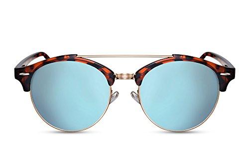 Cheapass Sonnenbrillen Schwarz Braun Runde Brille Verspiegelt Designer-Accessoire Leopard-Print Damen Herren
