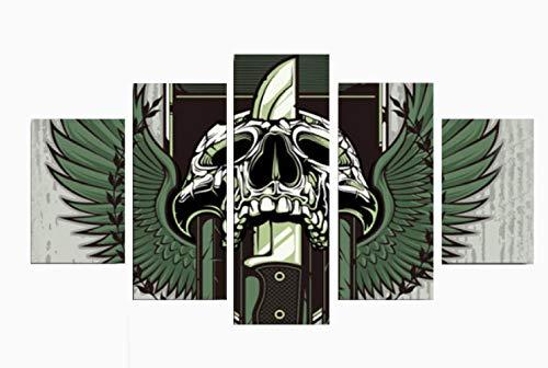 hibia Halloween Dekoration Requisiten, Skeleton Green Wings Wandbild, Wandsticker, Gelten Für Festival, Tanzparty, Dekoration, 5 Panels, Rahmenlos,L
