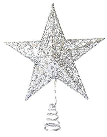 EOZY Weihnachtsstern Weihnachtsbaumspitze Glitzer Deko 20x15cm Silber