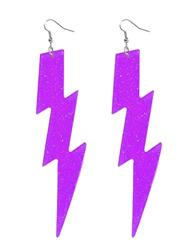 Club Candy Neon Lightning Bolt Costume Earrings: Purple One Size