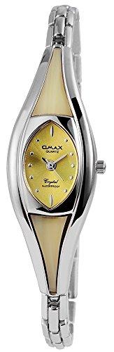 Omax Damen analog Armbanduhr mit Quarzwerk SS1624000325 Metallgehäuse mit Metall Armband in Silberfarbig und Clipverschluss Ziffernblattfarbe Gelb Bandgesamtlänge 19 cm Armbandbreite 6 mm