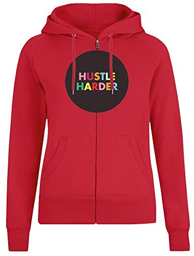 Hustle Harder Zipper Hoodie for Women - 100% Soft Cotton - High Quality DTG Printing - Custom Printed Womens Clothing