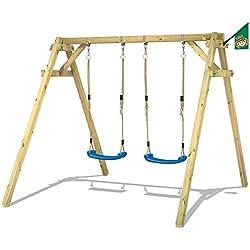 WICKEY Columpio Smart Move Columpio infantil de madera con 2 asientios de columpio