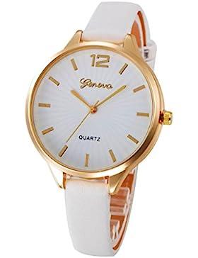 Xjp Damen-Armbanduhr Analoge Quarz-Uhr Lederband Weiß