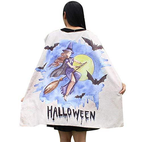 (Qiusa Halloween Frauen Neuheit Kürbis Print Cape Schal Poncho Schal Wrap Kostüm (Farbe : Beige E))