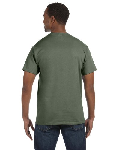 Hanes HanesApparel Mens Double-Needle Seamed Neck T-Shirt Fatigue Green
