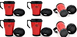King International Plastic Red & Black Sipper Water Bottle |Double-Walled for Better Insulation,Set Of 6 Pieces
