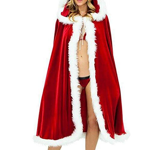 Umhang mit Kapuze Weihnachten Strickjacke mit Kapuze Mantel Weihnachtskostüm für Frauen Mädchen voller Länge Samt Kleid Vampir Teufel Zauberer Robe Maskerade Partei Karneval Halloween Cosplay Kostüm