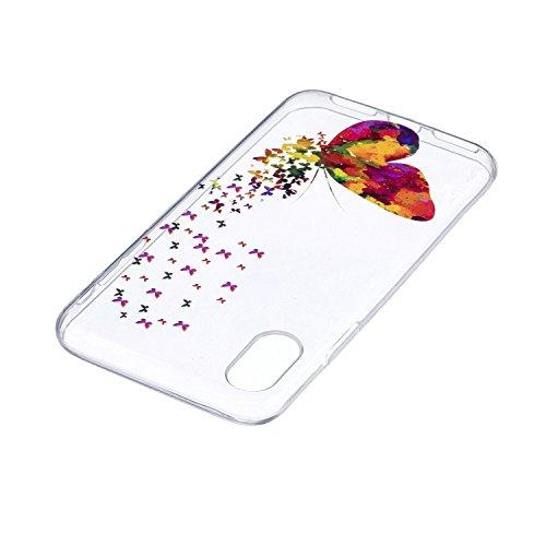 Für iPhone X,Sunrive Schutzhülle Etui Hülle transparent weich ultra slim TPU Silikon Rückschale Silicon Cover Tasche Case Bumper Abdeckung Handyhülle(tpu Blaue Feder)+Gratis Universal Eingabestift tpu Bunte Schmetterlinge