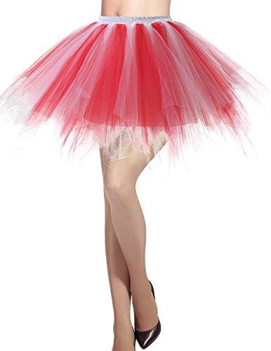 Dresstells Damen Tüllrock 50er Rockabilly Petticoat Tutu Unterrock Kurz Ballett Tanzkleid Ballkleid Abendkleid Gelegenheit Zubehör Red-White XL