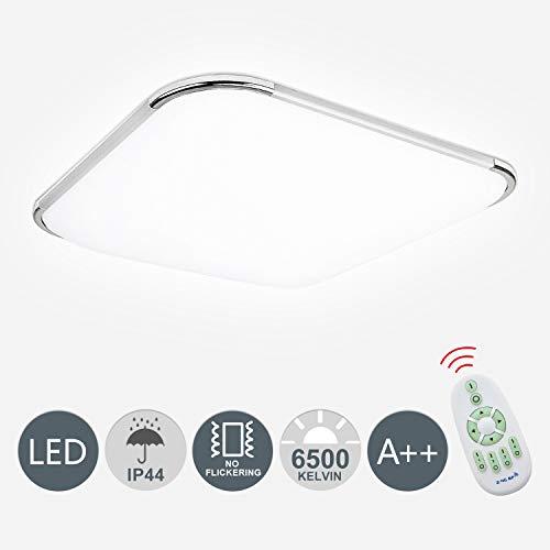 Hengda LED Deckenlampe inkl. 16W 1440lm Flimmerfrei Deckenleuchte Dimmbar für Badezimmer IP44 6500K Wohnraumleuchte 30x30x10cm