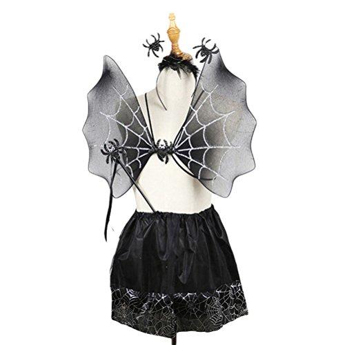 BESTOYARD Spinne Kostüm Mädchen Flügel Fee Zauberstab Tutu Rock und Stirnband Set 4 (schwarz)