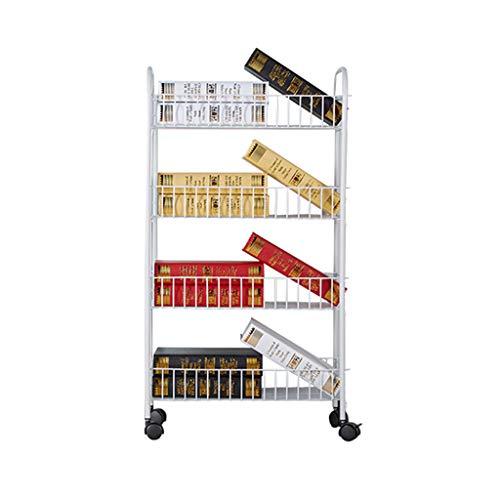 TMY Wohnzimmer kann mehrschichtiges Metallboden-Bücherregal, Badezimmer-Küchen-Lagerregal-Lagerregal bewegen (Color : White)