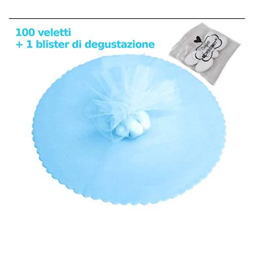 Bombsindy 100x velo veli di fata tulle organza tondo veletti bomboniere fai da te confetti colore azzurro + 1 degustazione, 23 cm diametro