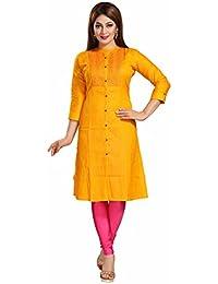 Dream & Dzire Yellow Cotton Flex Embroidered Ethnic Wear Kurtis