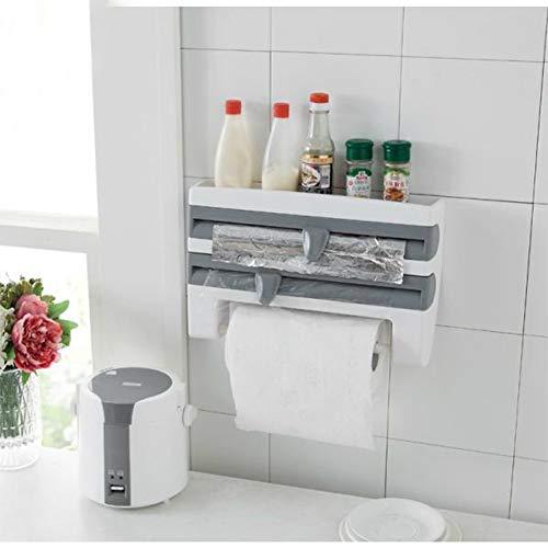 RONSHIN Nützlicher Kühlschrank Frischhaltefolie Aufbewahrungsregal Wrap Cutter Wand Aufhängen Papier Handtuch Halter Küche Organizer, Gray-Blue, 39 * 10 * 24cm - Wrap-halter Papier