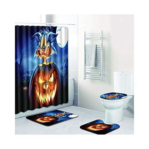 Daesar Halloween-Thema Badematte Waschbar 45x75, Duschvorhang Vintage 180x180, Badematten 4Teilig (Daniel Halloween Tiger)