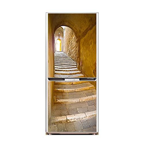 XIAOMAN Adesivi per frigo da Cucina Castle Path HD Frigorifero Porta Wrap  Cover Rimovibile Autoadesivo Fai da Te Art Decal (Color : 1, Size : 60 * ...