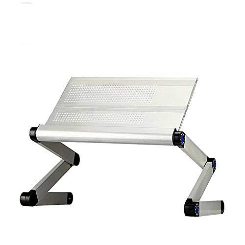 Zhedgsl scrittoio per computer da scrivania con computer pieghevole in alluminio con tavoletta per computer in piedi,argento
