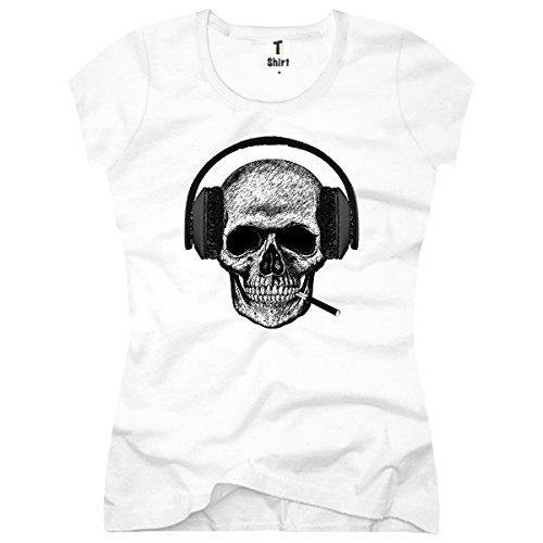 TEE-Shirt, Women T-Shirt Skull-Headset Size M,Weiß