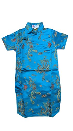 CHN Elements.clothing.kids GD-T-Chinese Kids Dress Girls Cheongsam Qi Pao Dragon & Phoenix Pattern-Turquoise