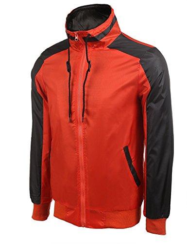 Modfine Herren Zipper Outdoorjacke Regenjacke Freizeit Funktionsjacke Wasserdicht Atmungsaktiv Herren Kapuzenjacke A-3-Rot