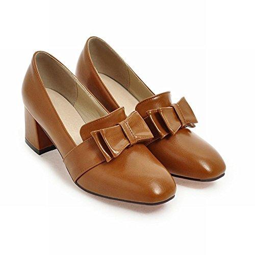 MissSaSa Femmes Chaussures Talons Bloc Escarpins Bout Ronde Décoration Par Des Noeuds Papillons Jaune