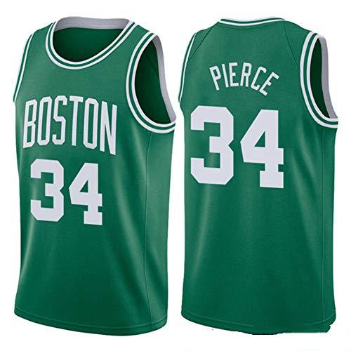 Haoshangzh55 Basketball Jersey Ärmellose Sportweste Boston Celtics # NO.34Paul Pierce Jersey Uniform Trainingsball Anzug Grüne Armee,Grün,XL -