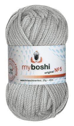 Myboshi No. 5, Farbe 593 silber, 25g Knäuel, Sommerwolle, häkeln, Seelengarn, 57% Baumwolle und 43% Polyamid, Trendwolle, Häkel- & Strickgarn