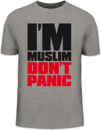 Shirtstreet24, I'M MUSLIM RED, Religion Moslem Islam Herren T-Shirt Fun Shirt Funshirt, Größe: L,graumeliert