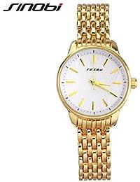 Relojes Hermosos, Mujer Reloj de Moda Cuarzo Resistente al Agua Aleación Banda Dorado Marca- SINOBI ( Color : Oro , Género : Para Mujer )