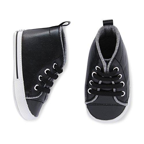 Carter's Kids Baby Boy Cool Dude Hi Top Sneaker, Black/White Crib Shoe