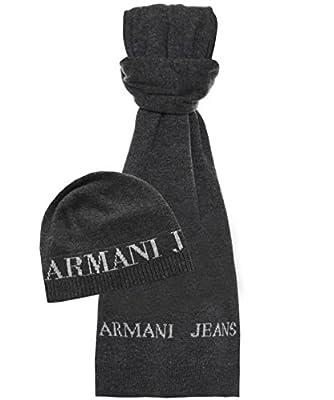 Armani Jeans Men's Beanie Hat & Scarf Grey