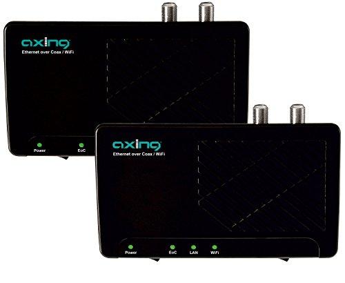 Axing EOC 2-00 Ethernet over Coax Netzwerk via Koaxialkabel Set mit WLAN (500Mbps, WiFi, 2 Stück)