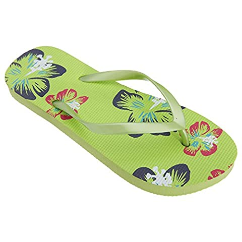 FLOSO® Womens/Ladies Hawaiian Flower Toe Post Flip Flops (5-6 UK) (Green)