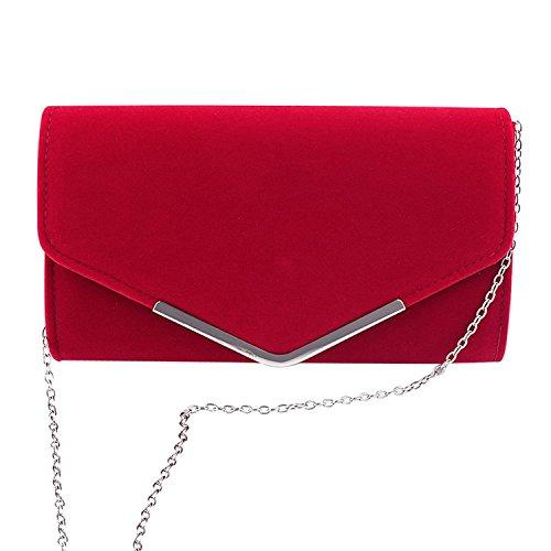 Clasichic Damen Frauen Clutch Abendtasche mit Strassstein Party Kettentasche Hochzeit Clutch (Rot) (Clutch Bag)