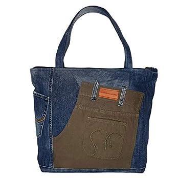 Blaue Henkeltasche Damen, Grüne Handtasche Damen nachhaltig, Schultertasche Damen Gross, Denim Shopper Damen Groß, Canvas Tasche Arbeitstasche Damen, Damen Tasche mit Reißverschluss