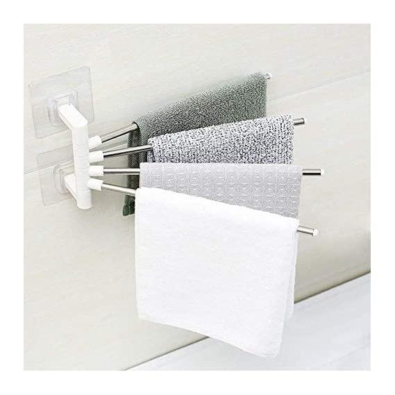 HK MART 4 Bars Stainless Steel Towel Rack with Wall Stick Adhesive Pads for Kitchen Bathroom