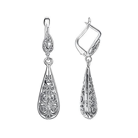 Yoursfs Filigree Teardrop Earrings Ethnic Leverback Earrings Elegant 18ct White Gold Plated Jewellery for Women