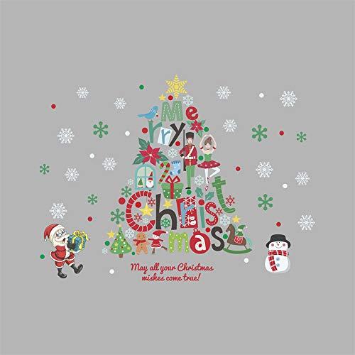 Lkxnb 2019 new christmas mall coffee shop decorazioni natalizie fiocco di neve bianco albero di natale negozio adesivo per vetri vetro a 58 * 77cm