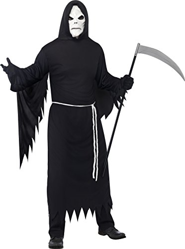 Smiffys, Herren Sensenmann Kostüm, Robe mit Kapuze, Maske und Gürtel, Größe: M, 21764