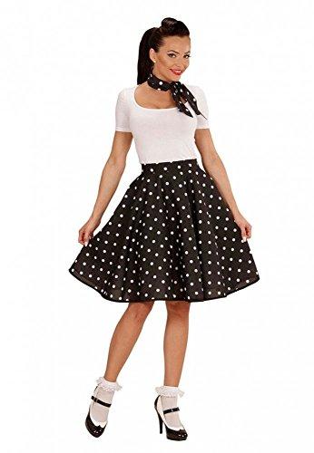 50s Rock 'n' Roll Girl - Polka Dot Rock und Halstuch - Einheitsgröße, Farbe:Schwarz (Fifties Girl Kostüme)