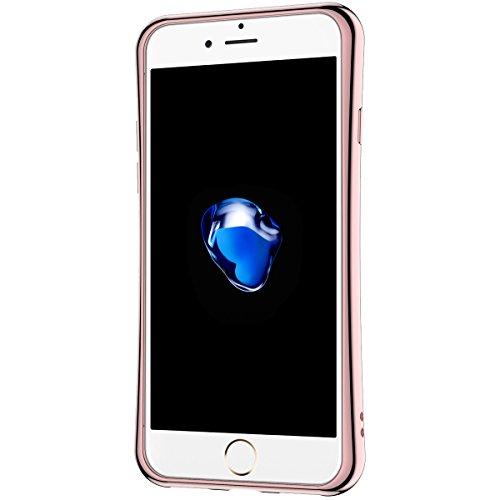 Coque iPhone 7, Etui iPhone 7 Or Rose, GrandEver Housse Silicone Transparente Clair Back Case avec Rotation à 360 degrés Supporter TPU Bumper Souple Etui Cover Caoutchouc Doux Gel Couverture Coquille  Or Rose