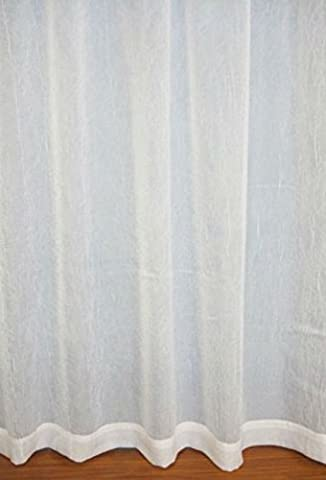 Pure White CRUSHED Voile Panel Curtain Window Semi Sheer Ideal BATHROOM KITCHEN BAY Size: 135x120cm/53x47 EXTRA SHORT DROP by Showpiece Curtains and Voiles