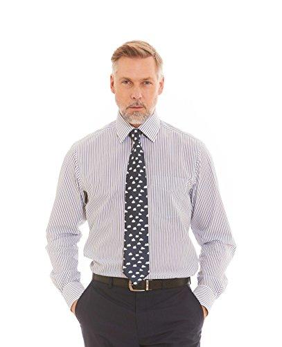 Savile Row Men's Navy White Stripe Classic Fit Shirt - Single Cuff Navy White